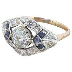 Art Deco 1.75 Carat Old Cut Diamond & Sapphire Cluster Ring, circa 1940