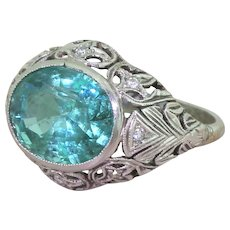 Art Deco 4.40 Carat Minor Oil Zambian Emerald Ring, dated 1930