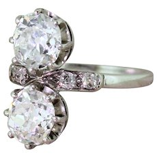 Art Deco 2.24 Carat Old Cut Diamond Two Stone Ring, circa 1920