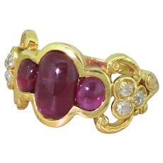 Edwardian 2.59 Carat Cabochon Ruby Trilogy Ring, circa 1905