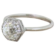 Late 20th Century 1.00 Carat Rose Cut Diamond Solitaire Ring, circa 1980