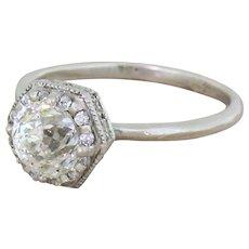Late 20th Century 1.00 Carat Rose Cut Diamond Solitaire Ring, circa 1980