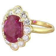 Mid Century 2.20 Carat Natural Ruby & 1.30 Carat Diamond Cluster Ring, circa 1970