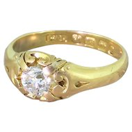 Victorian 0.58 Carat Old Cut Diamond Solitaire Ring, dated 1889