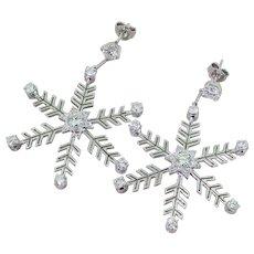 2.84 Carat Brilliant Cut Diamond Snowflake Earrings, 18k White Gold