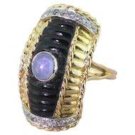 "Mid Century Cabochon Sapphire, Onyx & Diamond ""Shell"" Ring, circa 1960"