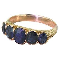 Victorian 2.00 Carat Sapphire Five Stone Ring, circa 1900