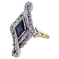 Art Nouveau Kite Cut Sapphire & Old Cut Diamond Ring, circa 1910