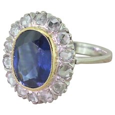 Mid Century 2.50 Carat Natural Sapphire & Rose Cut Diamond Cluster Ring, circa 1950