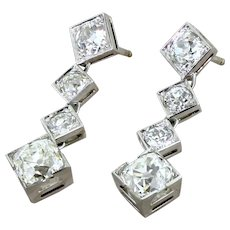 Art Deco 4.71 Carat Old Cut Diamond Drop Earrings, circa 1935