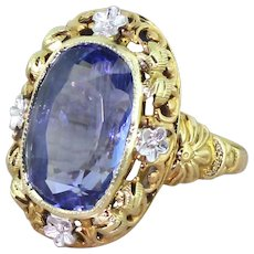 Edwardian 8.04 Carat Natural Ceylon Sapphire Ring, circa 1910