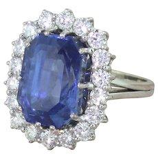 Mid Century 16.33 Carat Natural Ceylon Sapphire & Diamond Cluster Ring, circa 1965
