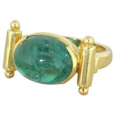 Retro 6.50 Carat Cabochon Emerald Cocktail Ring, circa 1945