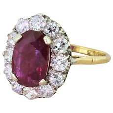 Mid Century 2.30 Carat Natural Ruby & Brilliant Cut Diamond Cluster, circa 1955
