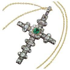 Georgian Emerald, Old Cut Diamond & Rose Cut Diamond Cross Pendant, circa 1800