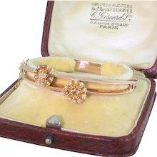 "Edwardian Pearl & Diamond ""Double"" Bangle, with Original Box, circa 1910"