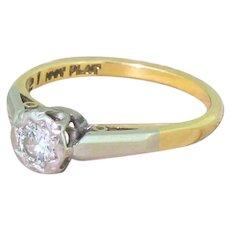 Mid Century 0.25 Carat Round Brilliant Diamond Engagement Ring, circa 1965