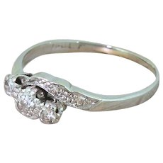Art Deco 0.30 Carat Transitional Cut Diamond Trilogy Crossover Ring, circa 1935