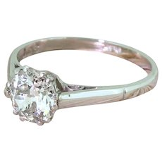 Art Deco 0.99 Carat Old Cut Diamond Engagement Ring, circa 1925