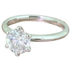 1.48 Carat Transitional Cut Diamond Engagement Ring, Platinum