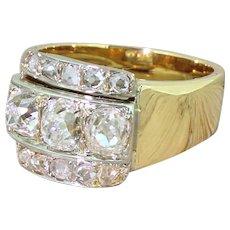 Art Deco 2.00 Carat Old Cut & Rose Cut Diamond Trilogy Ring, circa 1915