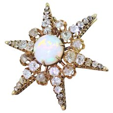 Victorian Opal, Old Cut Diamond & Rose Cut Diamond Star Brooch, circa 1880
