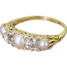 Victorian Pearl & Old Cut Diamond Carved Half Hoop Ring, circa 1900