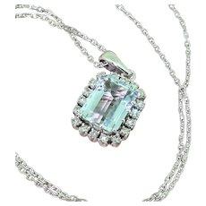 Mid Century 4.00 Carat Aquamarine & Diamond Pendant, circa 1960