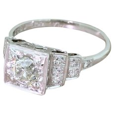 Mid Century 1.01 Carat Old Cut Diamond Engagement Ring, circa 1955