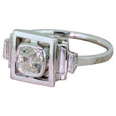 Art Deco 0.90 Carat Old Cut Diamond Solitaire Ring, circa 1930