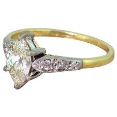 Art Deco 0.77 Carat Old Marquise Cut Diamond Engagement Ring, circa 1945
