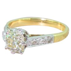 Mid Century 1.60 Carat Old Cut Diamond Engagement Ring, circa 1950