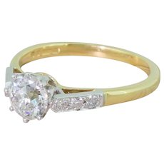 Late 20th Century 0.93 Old Cut Diamond Engagement Ring, dated 1976