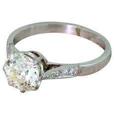 Mid Century 1.24 Carat Light Yellow Old Cut Diamond Ring, circa 1955