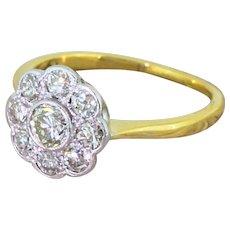 Art Deco 0.76 Carat Old Cut Diamond Daisy Cluster Ring, circa 1930