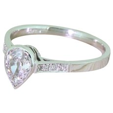 Art Deco 0.62 Carat Old Pear Cut Diamond Engagement Ring, circa 1930