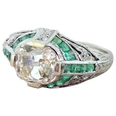 "Art Deco 2.01 Carat Old Cut Diamond ""Emeralds"" Engagement Ring, circa 1935"