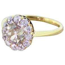 Victorian Light Fancy Cognac Old Cut Diamond Cluster Ring, circa 1890