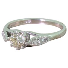 Art Deco 0.52 Carat Old Cut Diamond Engagement Ring, circa 1930