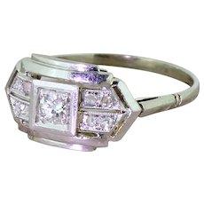 Art Deco 0.23 Carat Old Cut Diamond Cluster Ring, French, circa 1930
