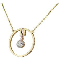 "Art Deco 0.70 Carat Old European Cut Diamond ""Circle"" Pendant, circa 1920"