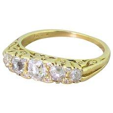 Victorian 1.15 Carat Old Cut Diamond Five Stone Ring, circa 1870
