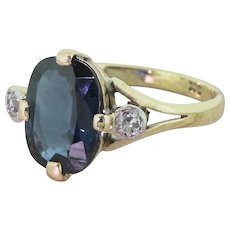 Art Deco 3.00 Carat Oval Sapphire & Old Cut Diamond Ring, circa 1920