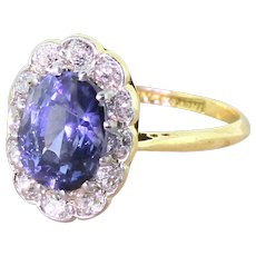 Art Deco 3.00 Carat Sapphire & Old Cut Diamond Cluster Ring, circa 1925