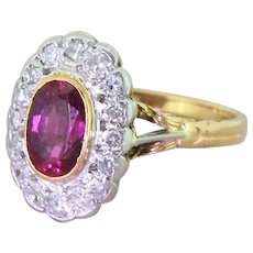 Art Deco 1.87 Carat Ruby & Diamond Cluster Ring, circa 1940