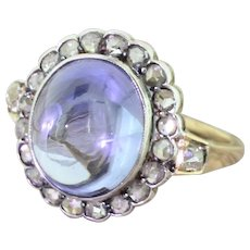 Victorian 6.00 Carat Sky Blue Cabochon Sapphire & Rose Cut Diamond Ring, circa 1880