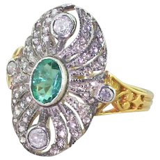 Emerald, Old Cut Diamond & Rose Cut Diamond Cluster Ring, Yellow Gold