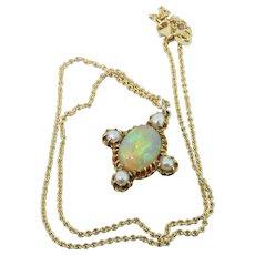 Victorian 3.00 Carat Opal & Seed Pearl Pendant, circa 1890