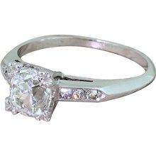 Art Deco 1.20 Carat Old Cut Diamond Engagement Ring, French, circa 1930