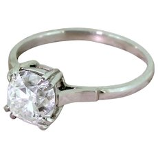 Art Deco 1.72 Carat Old Mine Cut Diamond Engagement Ring, circa 1920